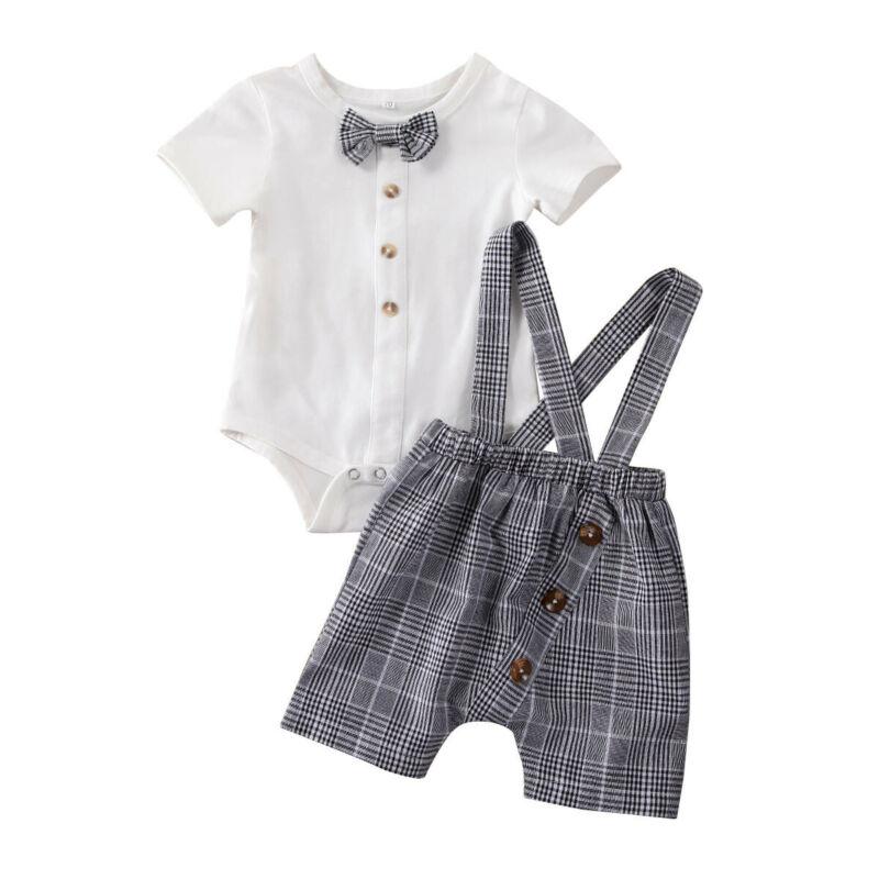 2Pcs Summer Newborn Baby Boys Gentleman Clothes Set Bowtie Romper Jumpsuit+Suspender Bib Pants Birthday Party Boy Outfit Suit