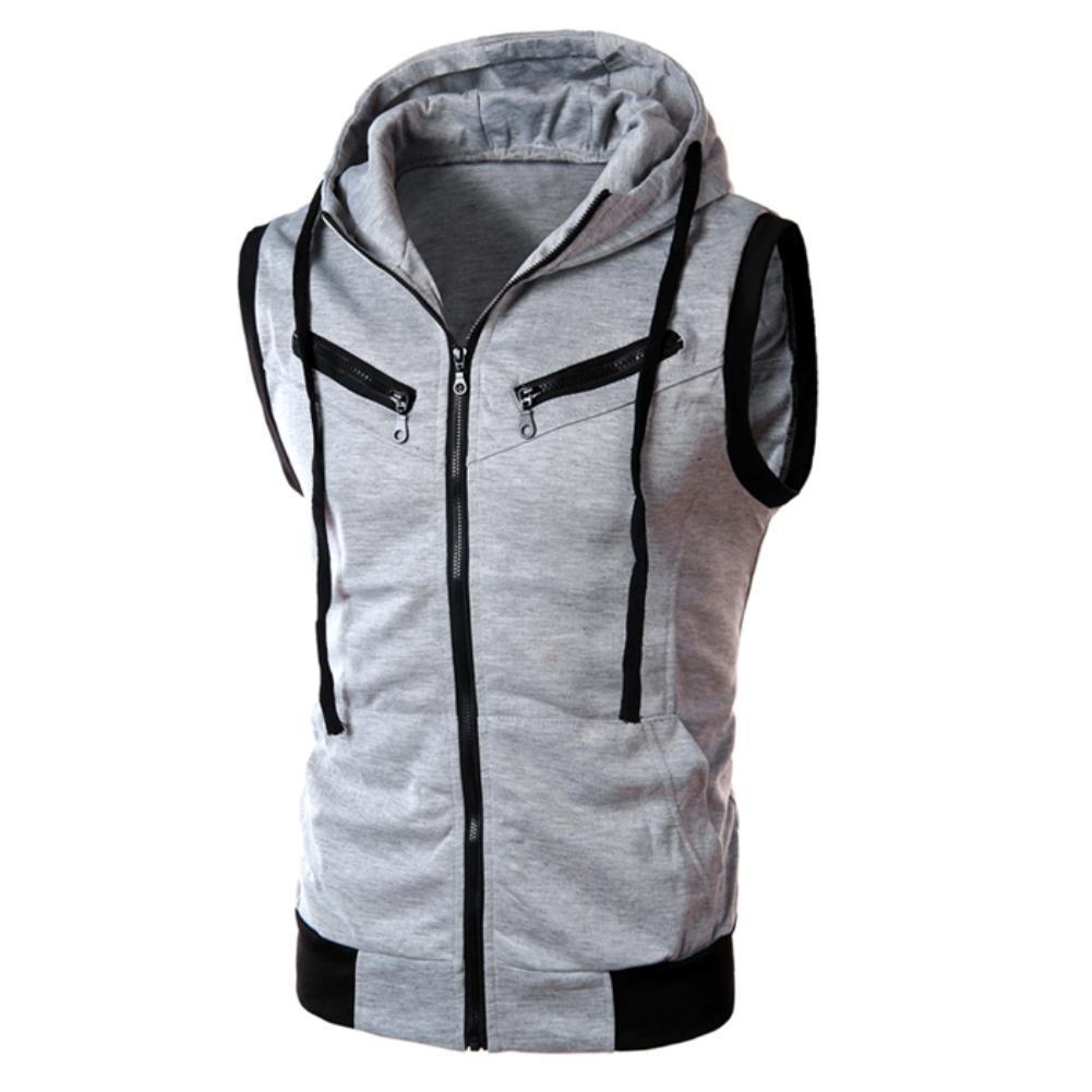 Color Block Summer Sports Men Zipper Sleeveless Fitness Hoodies Hooded Vest Men's Clothing
