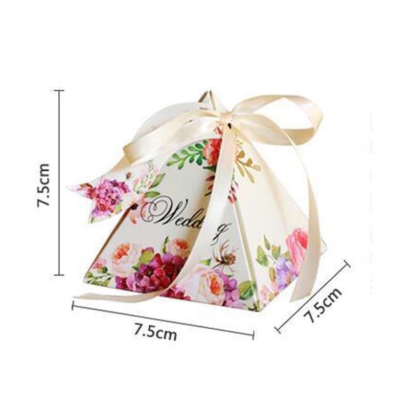 Купить с кэшбэком Free shipping 50pcs Creative Candy Box Baby Shower Favors Triangular Pyramid Wedding Favors Gifts Box Bomboniera Party Supplies