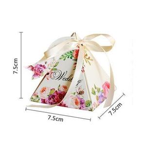 Image 5 - Free shipping 50pcs Creative Candy Box Baby Shower Favors Triangular Pyramid Wedding Favors Gifts Box Bomboniera Party Supplies
