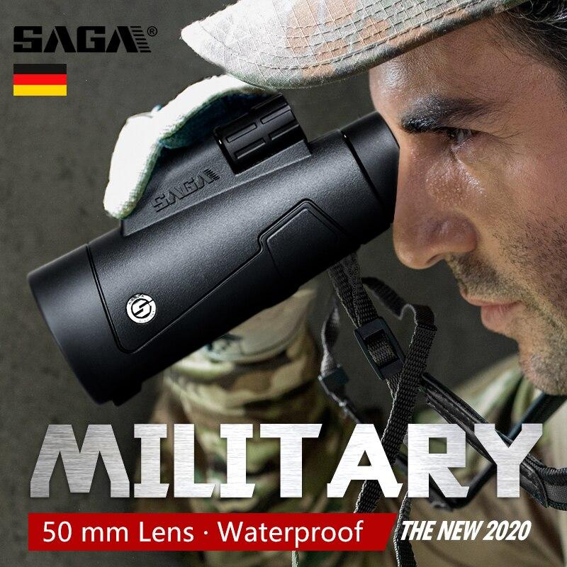 Saga alta potência 12x50 telescópio monocular bak4 hd profissional qualidade militar ao ar livre caça acampamento escopos telefone 2020 novo