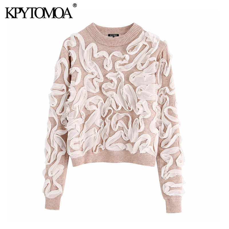 Vintage Stylish Short Style Contrasting Trim Knitted Sweater Women 2019 Fashion O Neck Long Sleeve Female Pullovers Chic Tops