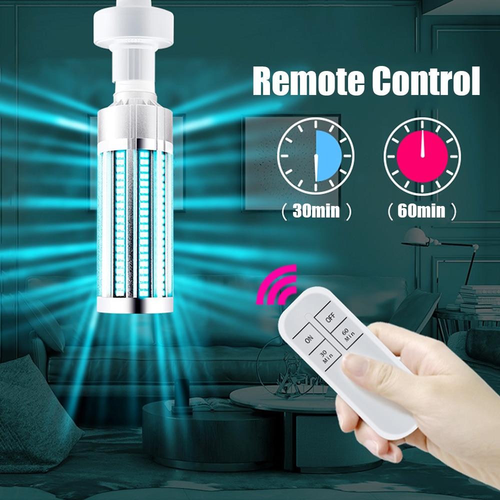 60W UV Light Sterilizer Timer Remote Control Germicidal UV Lamp UV Disinfection Lamp Remote 110V UVC Lamp Sterilizer UVC LED