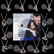 Ouro rosa 100 idioma eu te amo projeção colar A-Z carta amor memória projeção pingente colar de casamento jóias