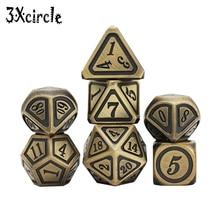 Старинный железный металлический набор игральных костей DND, бронзовый полимерный цвет, для настольной игры TRPG
