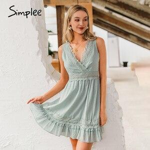 Image 2 - Simplee סקסי v צוואר נשים קיץ כותנה שמלה ללא שרוולים תחרה רקמה קצר שמלה קיצית קיץ חוף גבירותיי לפרוע סקסי שמלות