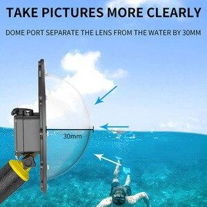 Image 3 - Telesin 6 30M Diepte Dome Poort Voor Gopro Hero Black 7 6 5 Waterdichte Duiken Behuizing Case Voor dji Osmo Action Floaty Bar Stok