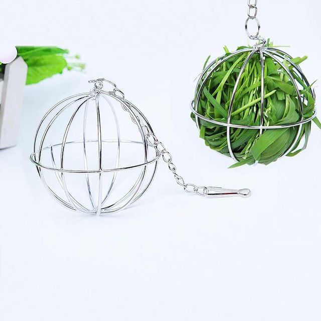 Stainless Steel Pet Rabbits Toys Round Sphere Feed Dispense  3