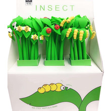 48pcs Cartoon Insect Leaves Grass Full Silicone Gel Pen Cute Buds of Ladybird Beetle Caterpillar