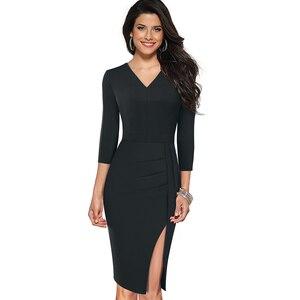 Image 3 - Nizza immer Elegant Reine Farbe Sexy Split Büro Arbeiten vestidos Business Party Bodycon Frauen Kleid B567