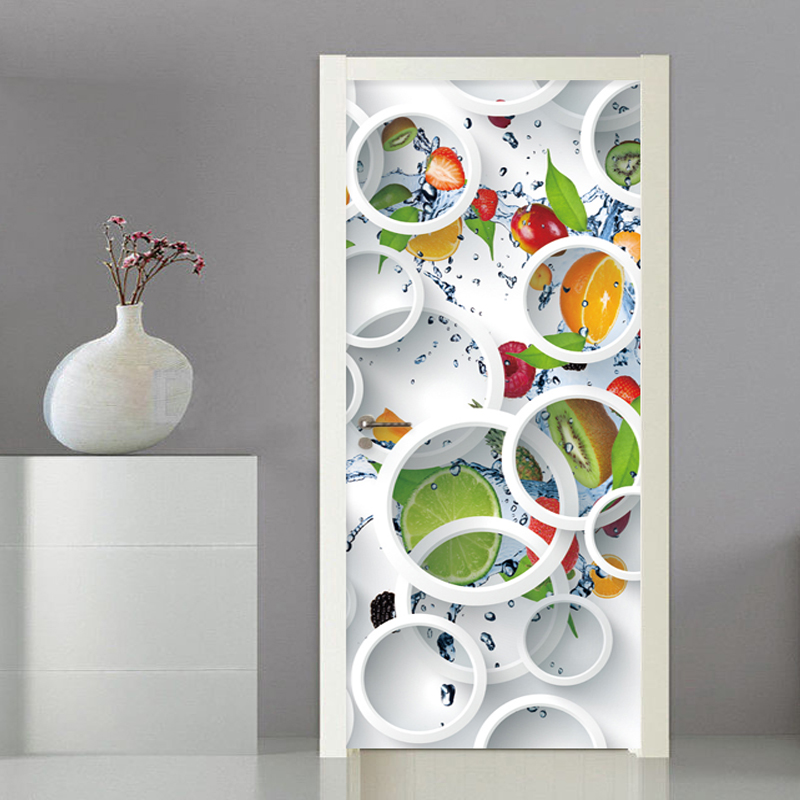 Door Sticker 3D Stereo Circle Fruit Mural Wallpaper Kitchen Restaurant Self-Adhesive Waterproof Wall Stickers Home Decor Poster