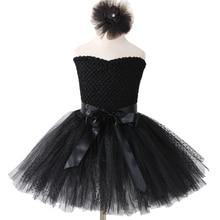 Black Swan Tutu Dress Kids Girl Wedding Evening Party Dress Children Sexy Shoulderless Tulle Tutu Dresses for Girls Gowns 1-14Y