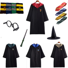 Gryffindor Potter Magic Cloak Cosplay Costumes Robe Cape Tie Scarf Wand Glasses Hufflepuff Slytherin Halloween Clothing