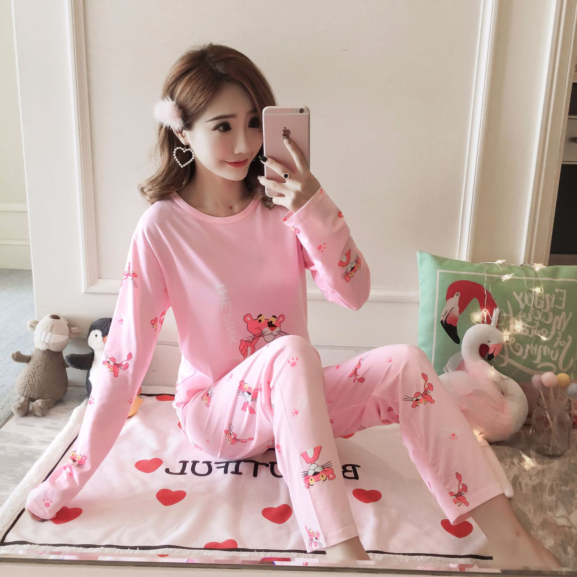 2005 # Small Pink Panther Pullover MS Long Sleeve Sweet Pajamas Homewear Set Series