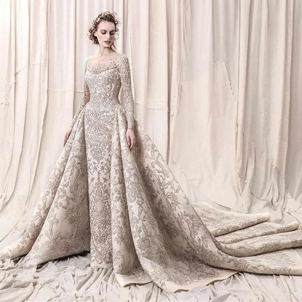 Lüks boncuk Sequins dantel gelinlik 2020 romantik bir çizgi uzun kollu gelinlik gelinlikler Robe De Mariee