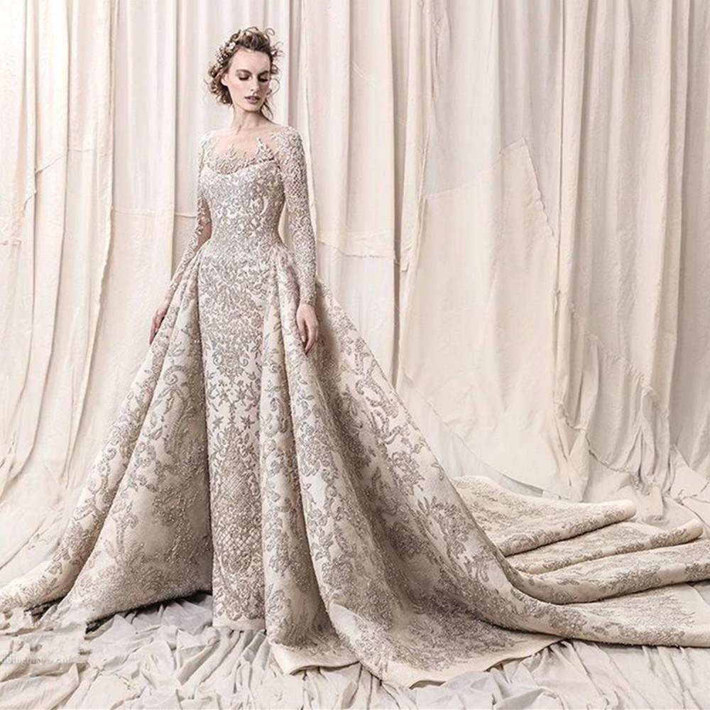 Luxury Beads Sequins Lace Wedding Dresses 2020 Romantic A Line Long Sleeve Wedding Bridal Gowns Robe De Mariee