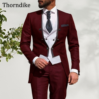 Thorndike Three-Piece Male Formal Party Suit,Custom Made Wine Red Men's Wedding Dress Pants Set, Elegant Casual Groom Tuxedos
