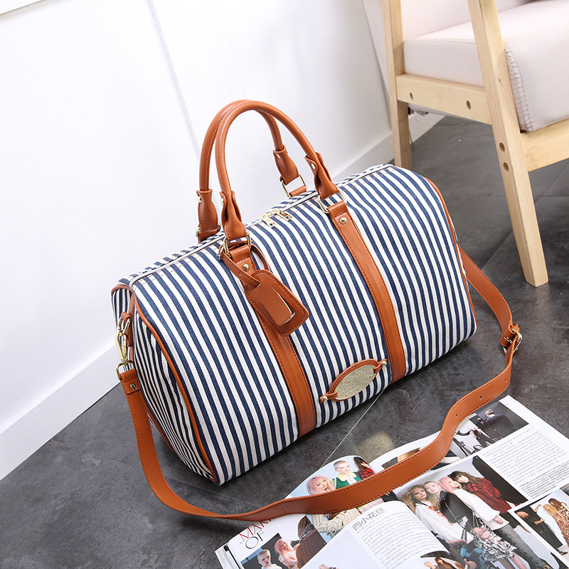 New Contrast Striped Canvas Bag Tide Brand Men's Shoulder Portable Travel Bag Fashion Couple Practical Outdoor Travel Sports Bag