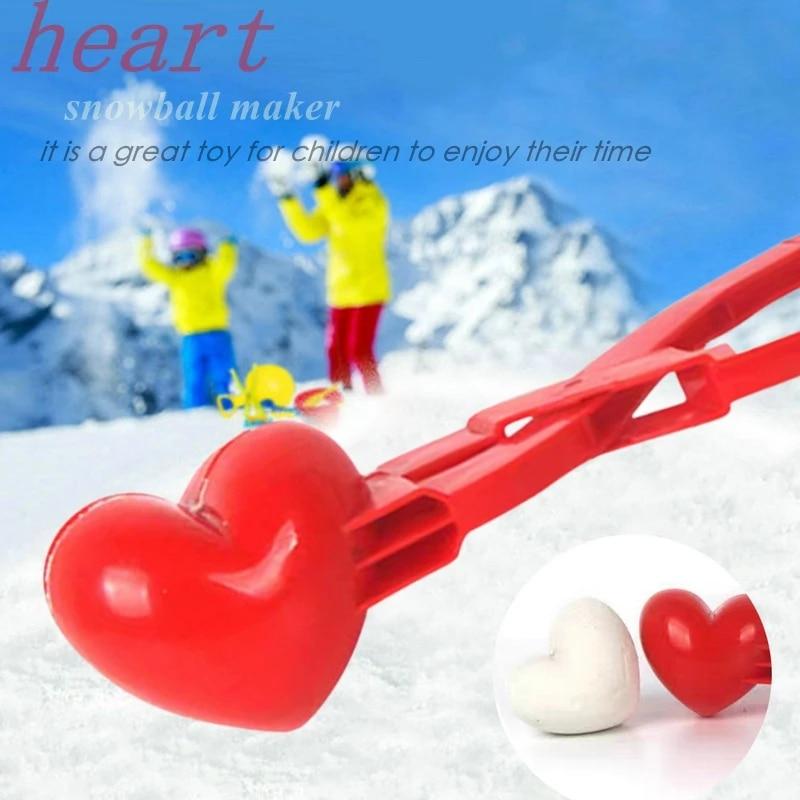 Heart Snowball Maker Winter Mold Plastic Sand Ball Tool Clip Kids Toy Outdoor