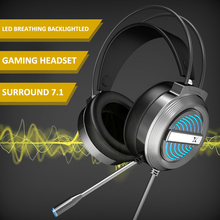 Earphones Gaming-Headsets Gamer Over-Ear Laptop Wired USB with Mic for PC Hifi-Bass Led-Backlight