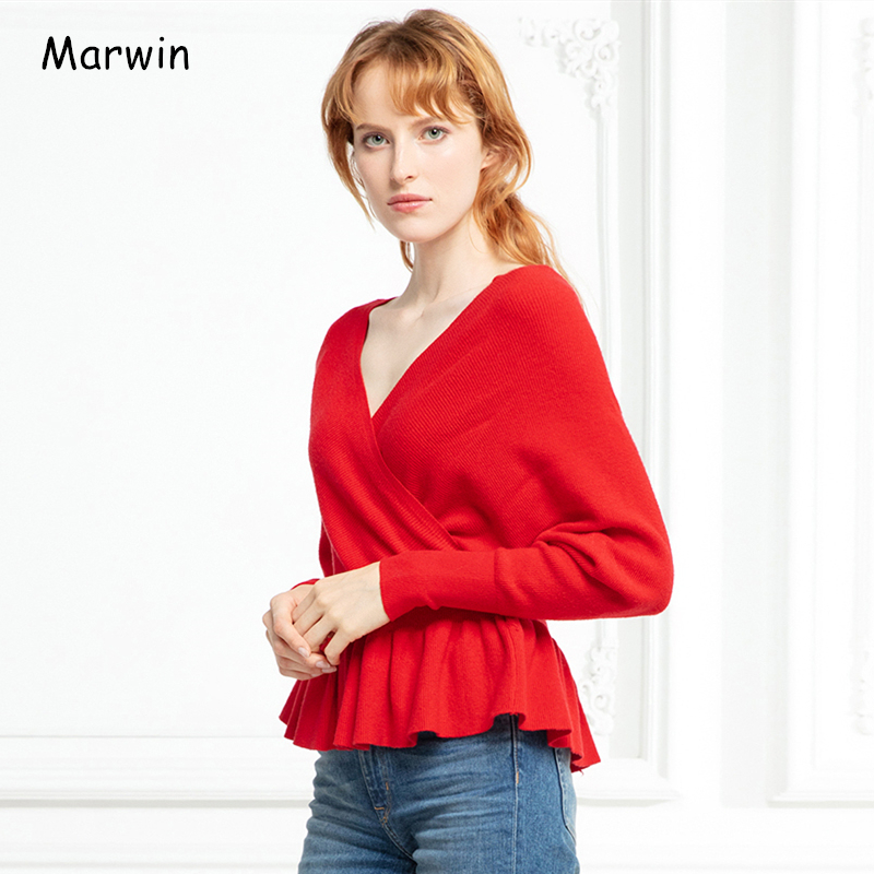 Marwin 2019 New-Coming Autumn Winter Solid High Street Style V-Neck Ruched Criss-Cross Women Pullovers Female Sweaters