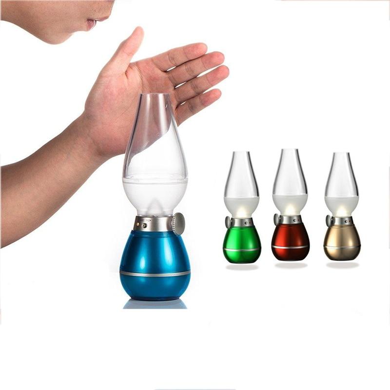 USB Rechargable LED Blowing Control Kerosene Candle Novetly Lamp  Retro Style Night Light For Home Decoration