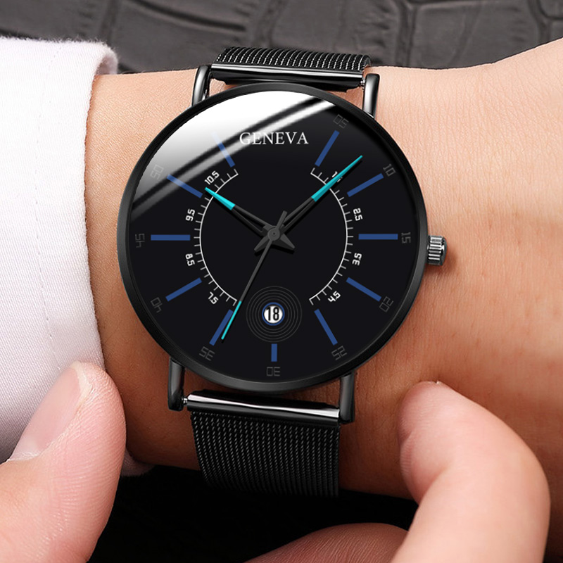 2020 Fashion Men's Business Minimalist Watches Ultra Thin Stainless Steel Mesh Band Analog Quartz Watch Relogio Masculino Reloj