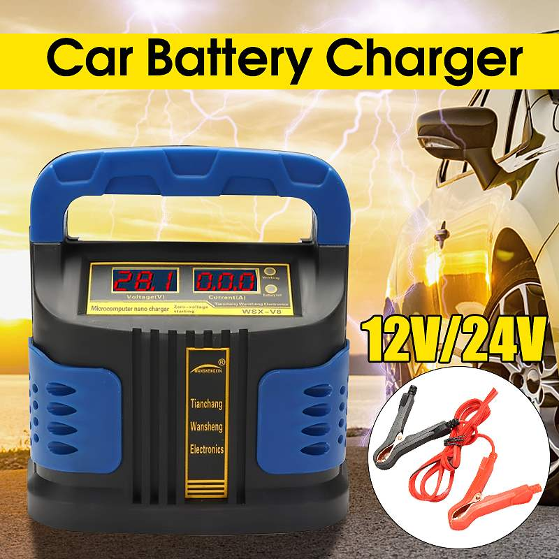 12/24V 350W Automatic Battery Charger 12/24V Jump Starter Emergency Charger Booster Power Bank Pulse Repair Device For Car Truck