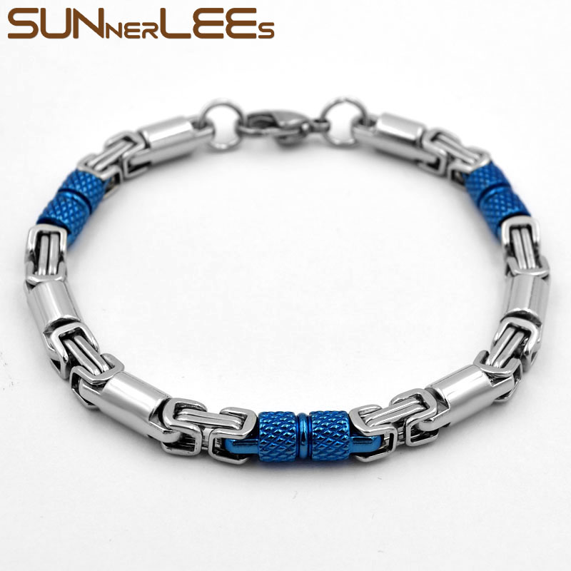 SUNNERLEES 316L Stainless Steel Bracelet 6mm Geometric Byzantine Link Chain Blue Silver Color Men Women Jewelry Gift SC42 B