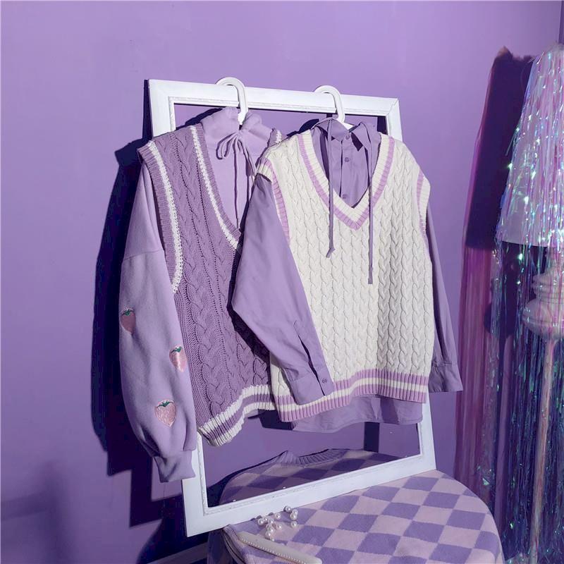 Knitted Jacket Retro Vest Oversized Purple Korean-Style Women Sleeveless Sweet for Tops