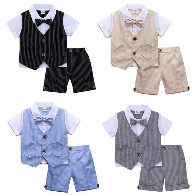 เด็กทารกสุภาพบุรุษวันเกิดทารกชุดของขวัญงานแต่งงานชุดเด็กวัยหัดเดิน Baptism เสื้อผ้าอย่างเป็นทางการชุด Christening ชุด
