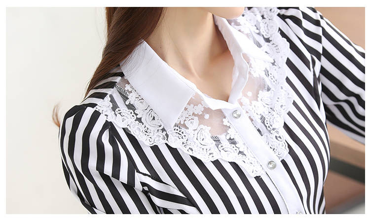 Elegant Striped Lace Long Sleeve Embroidery Office Blouse Shirt 1