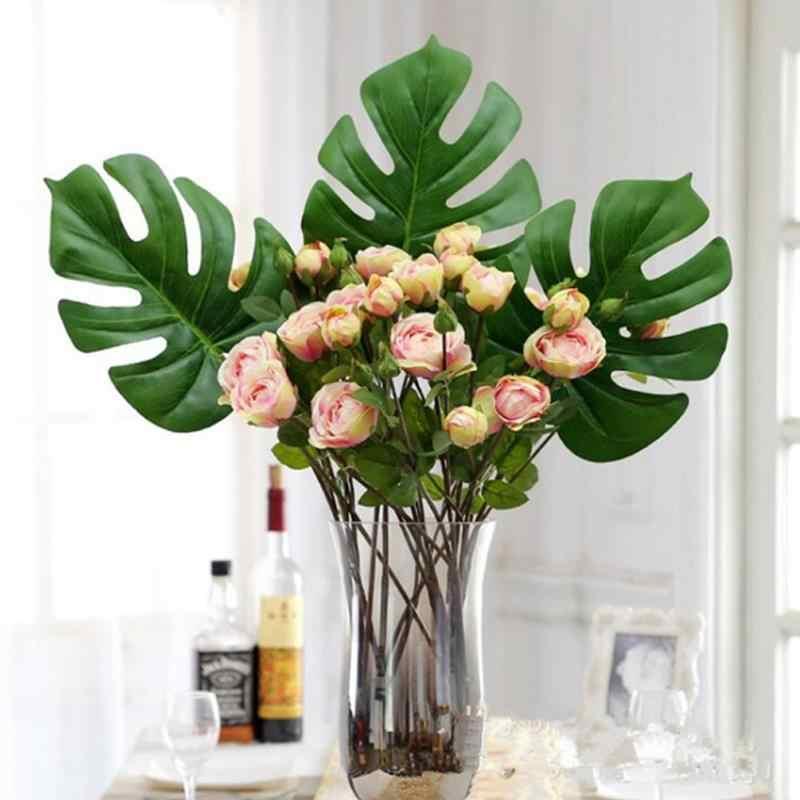 SOLEDI Plastica fiori di Seta Di Simulazione Falso Pianta Handmade Ornamento di Moda di Famiglia di Palma Felce Tartaruga Foglia FAI DA TE Complementi Arredo Casa 40*18*0.05 centimetri