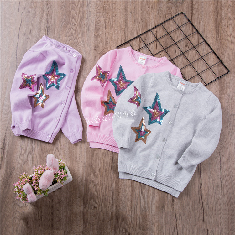 CHILDREN'S Sweater New Style Girls Sequin Knitted Cardigan Europe And America Children Five-Star Embroidered Sweater Coat W18142