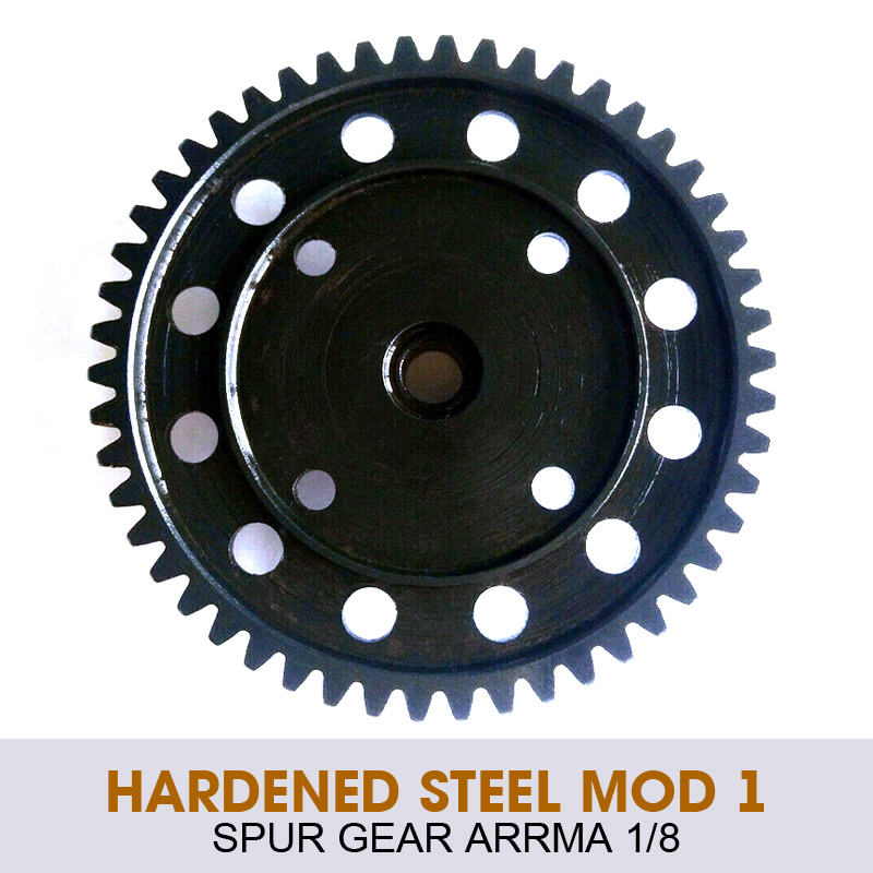 Engranaje recto negro de acero endurecido Mod 1 50T sustituye a AR310429 para vehículos Arrma 1/8 4x4, piezas de repuesto de acero endurecido