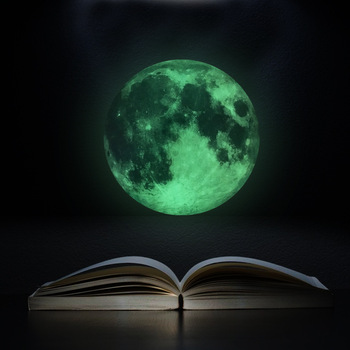 Romantic Luminous Moon Fluorescent Stickers Childrens Room Bedroom Ceiling Decoration Wall Green