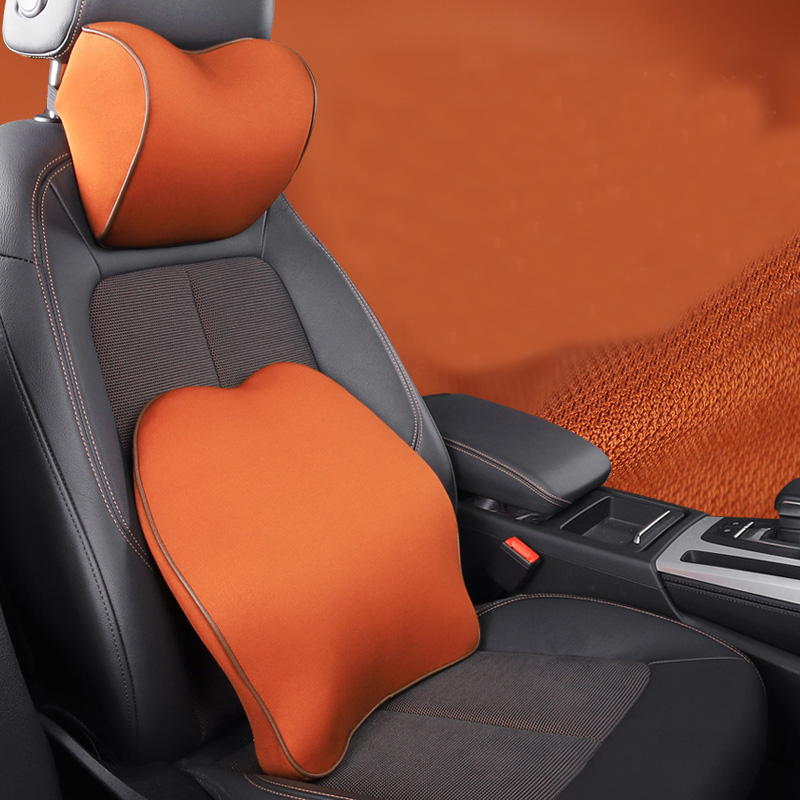 Lsrtw2017 Suede Leather Car Seat Headrest Lumbar Pillow Neck Protection Accessories