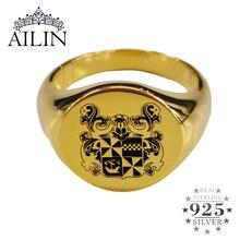 Мужское кольцо с эмблемой ailin серебряное золотого цвета 925