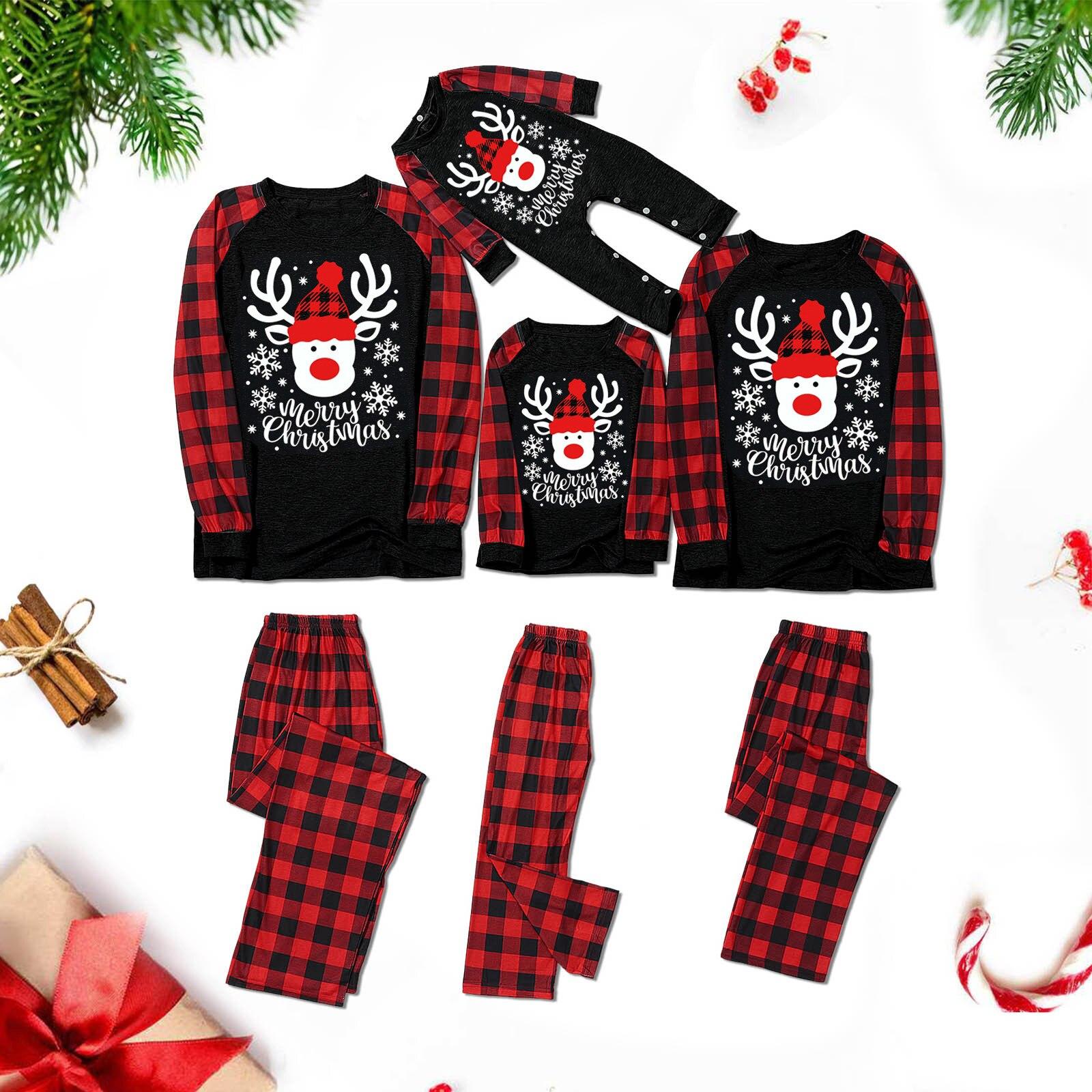 Noël parent-enfant vêtements 2020 parents et enfants tête de mouton imprimé chemise à carreaux T-shirt + pantalon pyjamas ensemble maison
