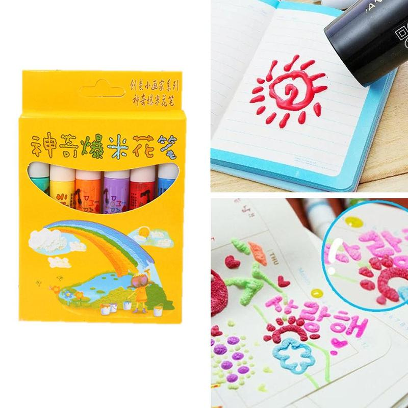 6pcs/1set Magical Popcorn Brush Watercolor Pen 3d Print Bubble Pen Drawing Children Diy Pen Multi Function Cotton Art Marker Pen