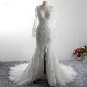 Image 3 - LZ369 Yiai Ivory Nice Lace Pearls Wedding Dress Long Sleeve Mermaid Dress Sexy Side Split Long Beach Dress