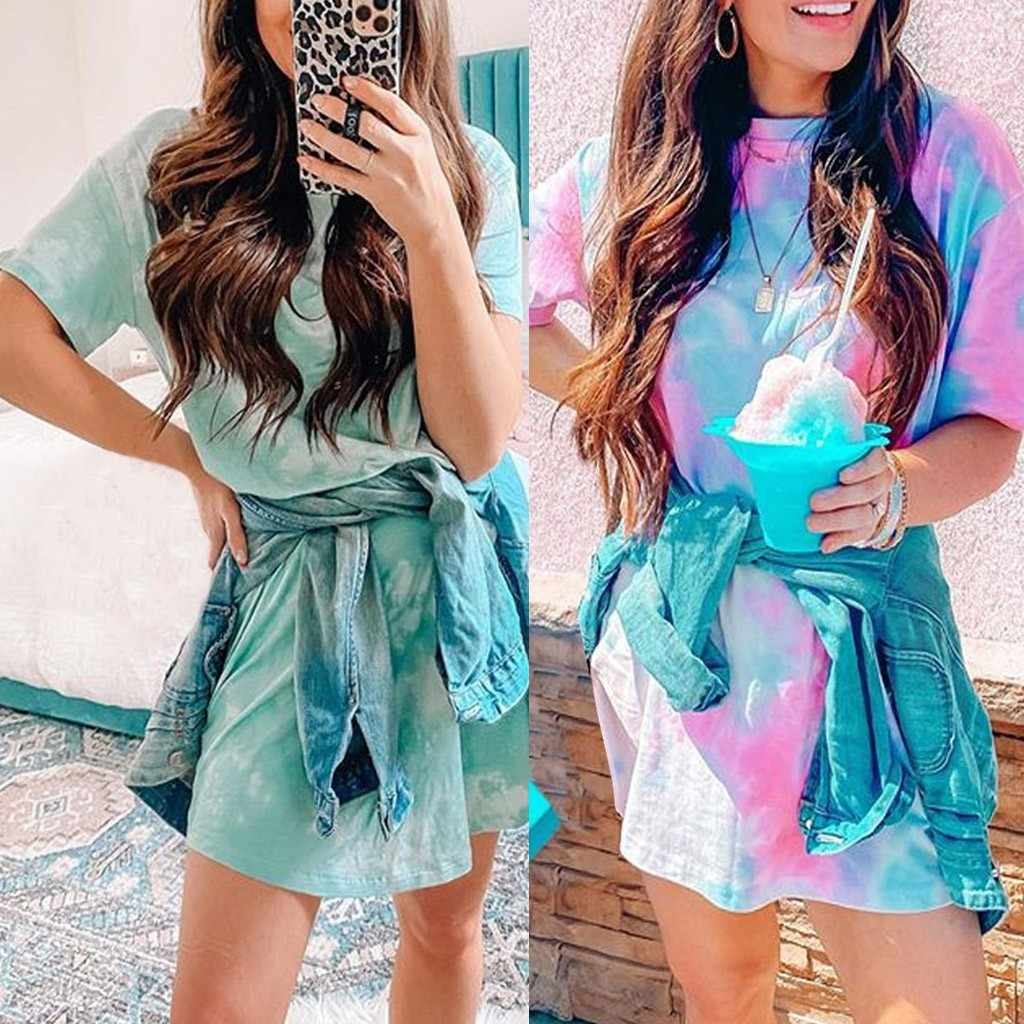 Short Sleeve O-Neck Ruched Dress Mini Casual Summer Tie Dye Dress Ladies Slim Vintage Harajuku Summer Dresses Women dress #25