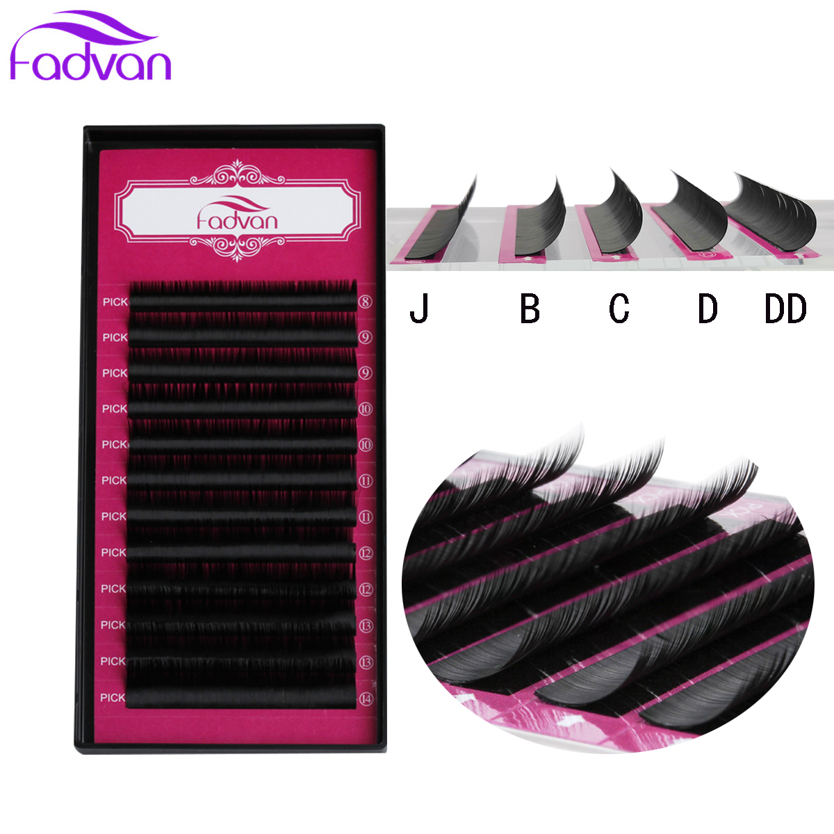 12Lines/Tray JB/C/D/DD Curl Eyelash Extension All Length Silk Volume Eye Lashes Makeup Natural Lashes Artificial False Eyelashes