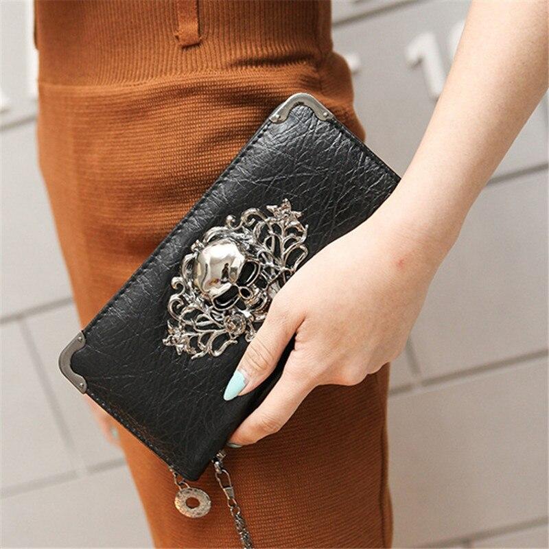 Women Wallets Fashion Lady Wristlet Handbags Long Money Bag Zipper Coin Purse Cards ID Holder Woman Metal Skull Pattern Wallet