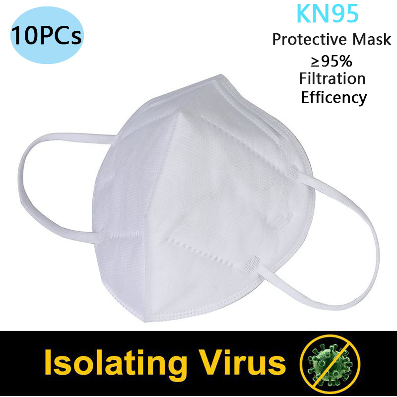 10PCS Mouth Face Mask Disposable KN95 Mask 95% Filtration Non-woven Fabric Protective Masks For Dust Particles Pollution