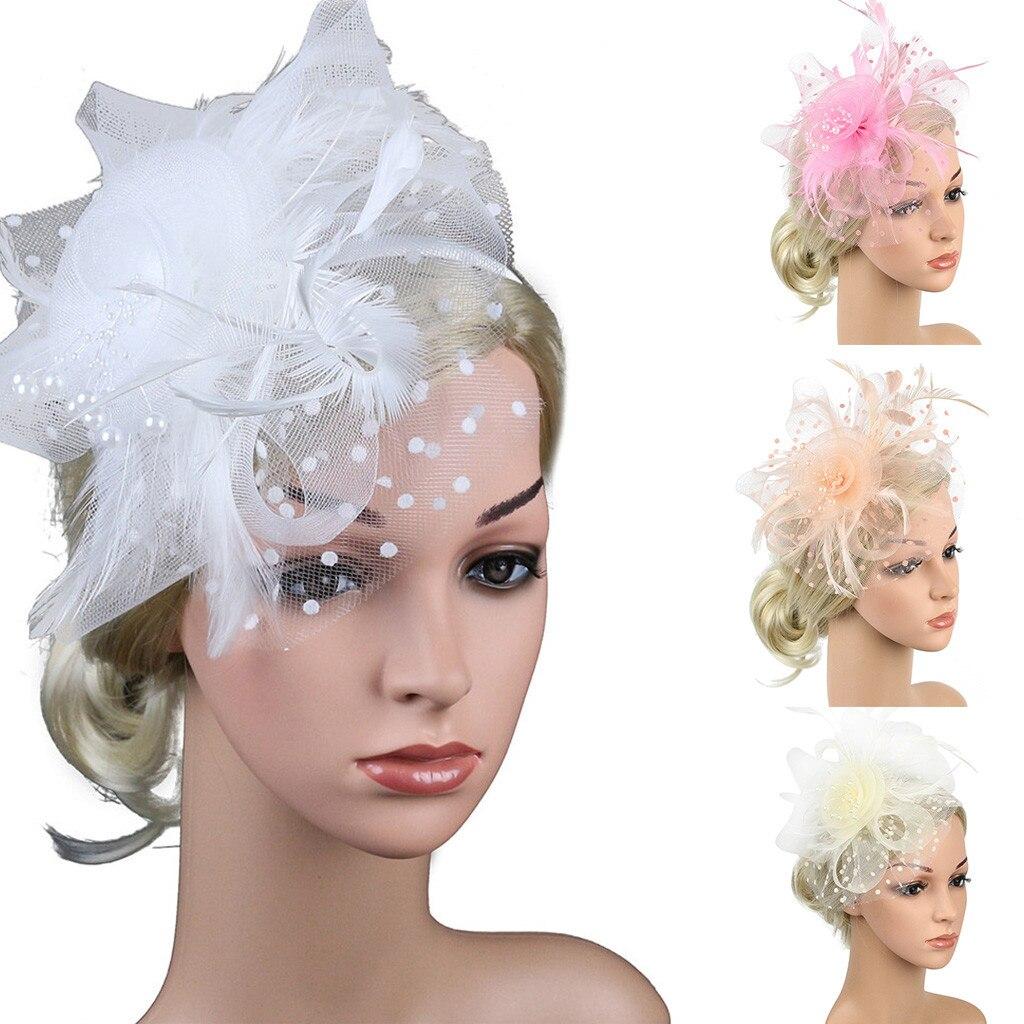 Black Net Veil Flower Fascinator Feather Headdress Hair Clip Wedding Party