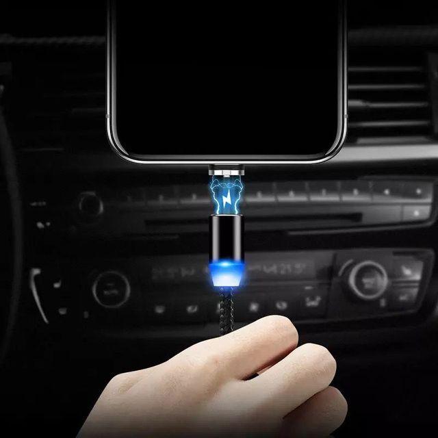 Câble Micro USB/type-c magnétique LED pour recharge rapide et données, cordon de chargeur aimanté pour téléphone portable