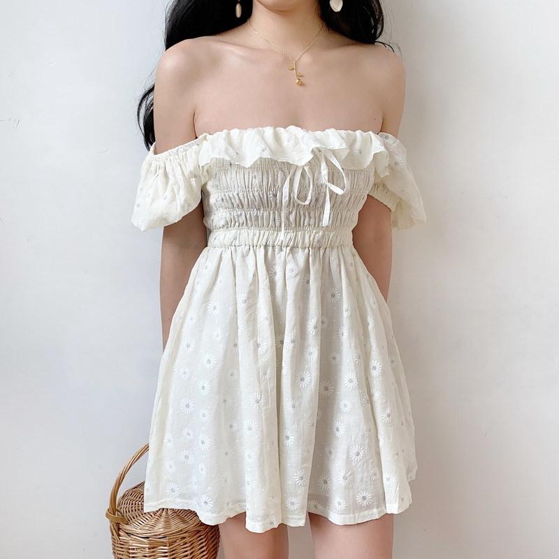 Женское платье с пышными рукавами и вырезом лодочкой, с оборками, с цветочным принтом, с бантом, тонкая талия, 2020, летнее пляжное плиссирован...