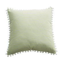 45*45cm green pink striped cushion covers no inner pompom decoration cotton kawaii throw pillow home decor X58