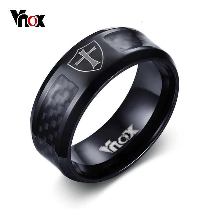 Vnox Carbon Fiber Ring for Men Engraved Heraldic Cross Pattern Shield Stainless Steel Male Wedding Band Jewelry